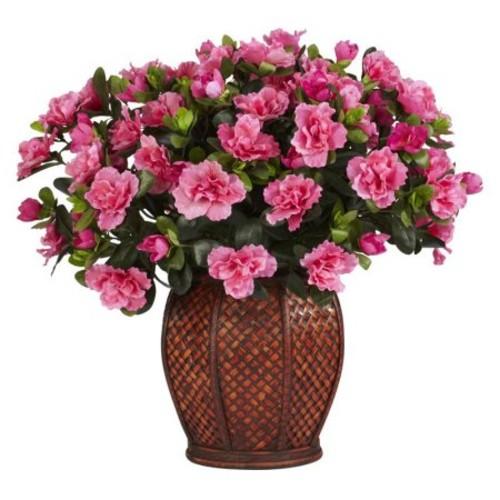 Azalea with Vase Silk Plant