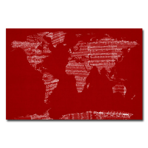 Trademark Global Michael Tompsett 'Sheet Music World Map' Canvas Art [Overall Dimensions : 16x24]