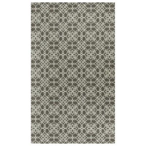 Ruggable Washable Floral Tiles Rich Grey 3 ft. x 5 ft. Stain Resistant Accent Rug