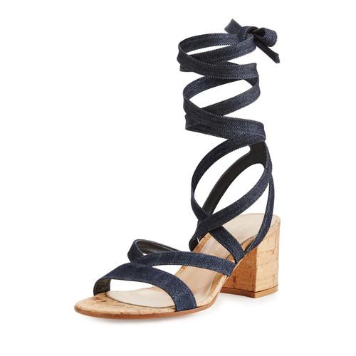 GIANVITO ROSSI Janis Denim Leg-Wrap Sandal