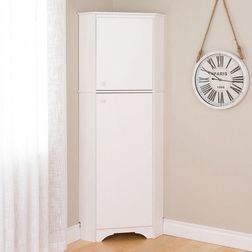 Prepac Elite Winslow White Tall 2-Door Corner Storage Cabinet