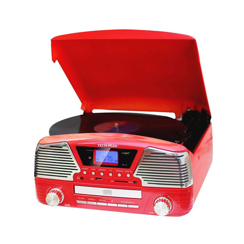 TechPlay 970100282M 3 Speed Bluetooth Turntable, Programmable MP3 CD Player, USB/SD, Radio & Remote Control in Red