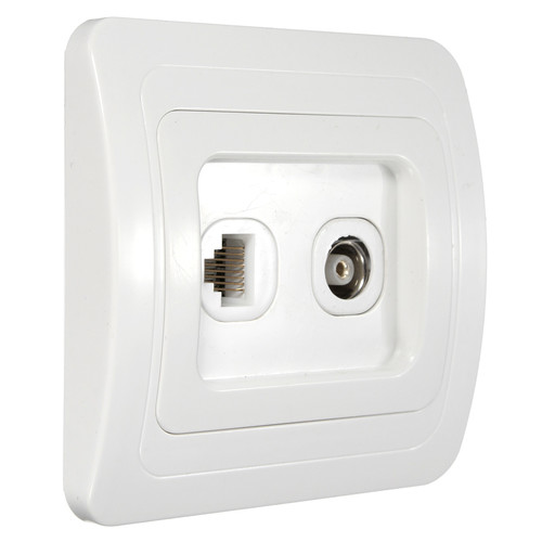 RJ11 Tel+ TV Television Aerial Coaxial Coax Wall Face Plate Panel Outlet Socket Wall Station