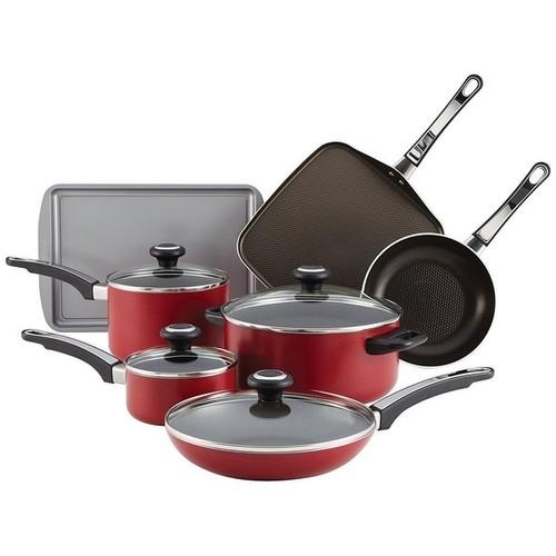 Farberware 21567 High Performance Aluminum Nonstick 12-Piece Cookware Set Red