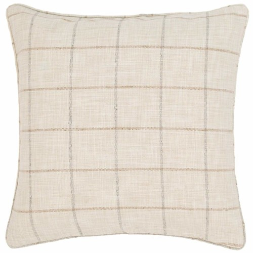 Chatham Tattersall Natural\/Grey Indoor\/Outdoor Decorative Pillow design by Fresh American - 22\