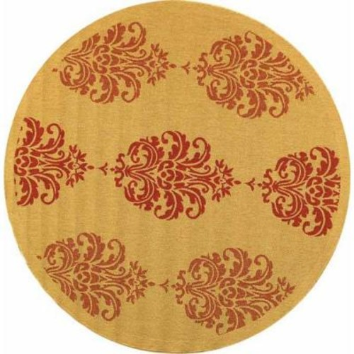Safavieh Courtyard Natural/Red 5 ft. 3 in. x 5 ft. 3 in. Indoor/Outdoor Round Area Rug