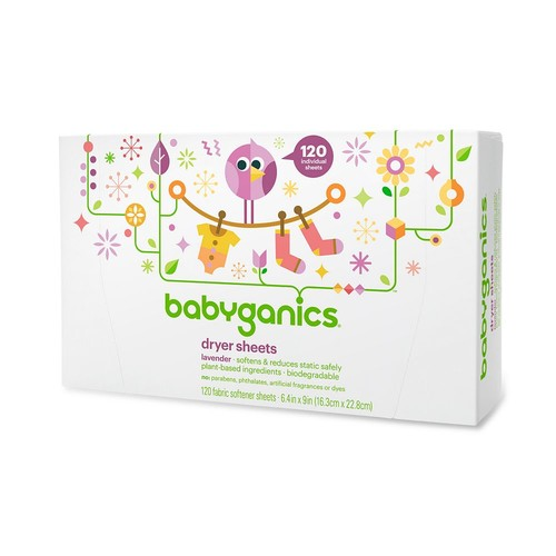 Babyganics Dryer Sheets, 120 count, Packaging May Vary