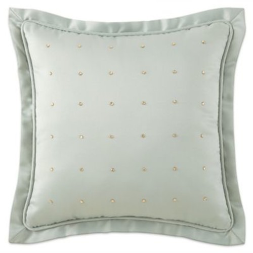 Waterford Linens Aramis Rhinestone Square Throw Pillow in Aqua