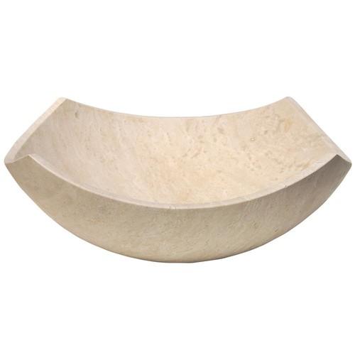 Eden Bath Arched Edges Bowl Vessel Sink in Honed Beige Travertine