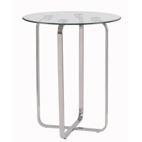 Kenroy Home Arpeggio Stainless Steel Glass Top End Table