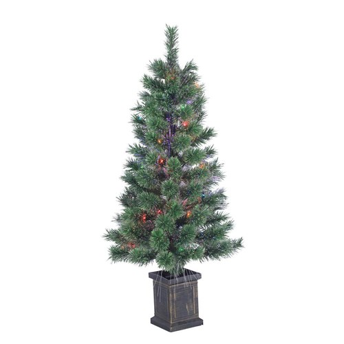 Sterling 3.5 ft. Pre-Lit Fiber Optic Cashmere Artificial Christmas Tree with Multi-Colored Lights in a Plastic Pot