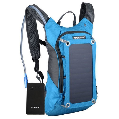 SolarGoPack Solar Hydration Backpack, 10k mAh battery, 7-Watt Solar Panel in Blue