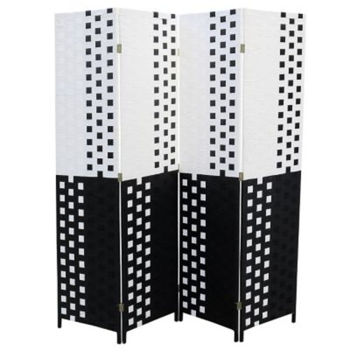 ORE Furniture 70.75'' x 70.5'' 4 Panel Room Divider; Black and White