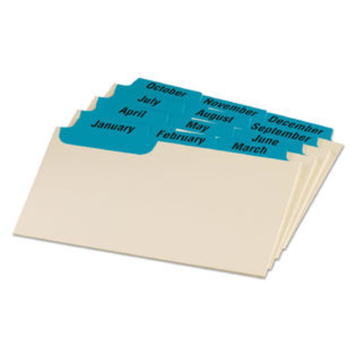 Oxford Laminated Index Card Guides Monthly 1/3 Tab Manila 3 x 5 12/Set