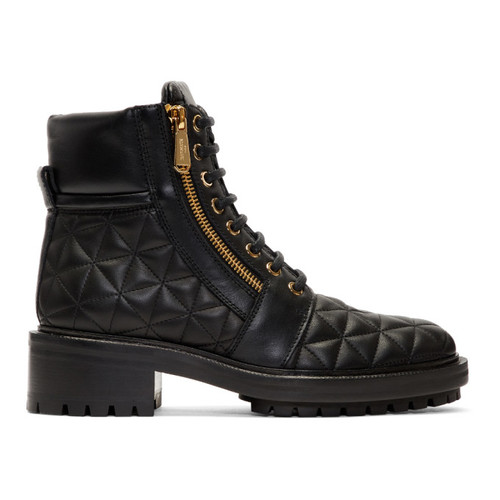 Black Quilted Army Ranger Zip Boots