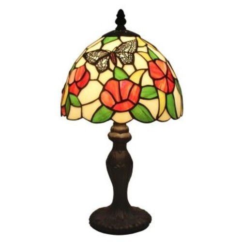 Amora Lighting 14.5 in. Tiffany Style Flowers and Butterflies Design Table Lamp