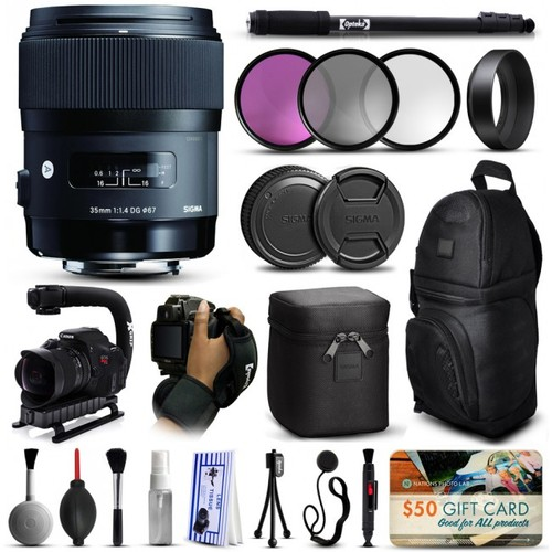 Sigma 35mm F1.4 DG HSM Art Lens for Sony + Deluxe Accessories Kit 340205