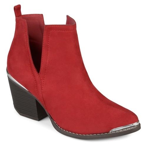 Journee Collection Women's 'Issla' Side Slit Stacked Wood Heel Booties