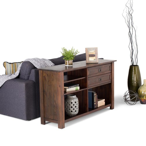 Simpli Home Monroe Distressed Charcoal Brown Storage Console Table