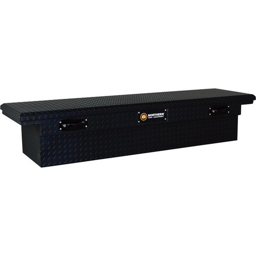 Northern Tool + Equipment Deep Crossover Low Profile Matte Black Truck Tool Box with Pushbutton Locking Latches  Aluminum, 69in.