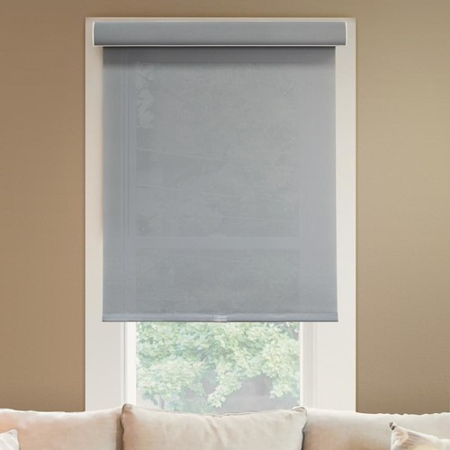 Chicology 71 in. W x 72 in. L Urban Grey Light Filtering Horizontal Roller Shade