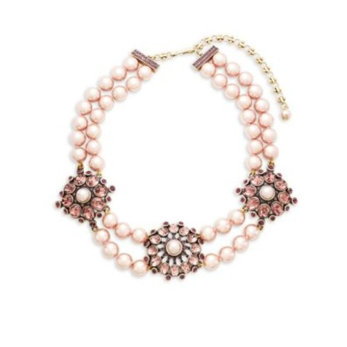 Heidi Daus - Simulated Faux Pearl and Crystal Triple Station Beaded Necklace