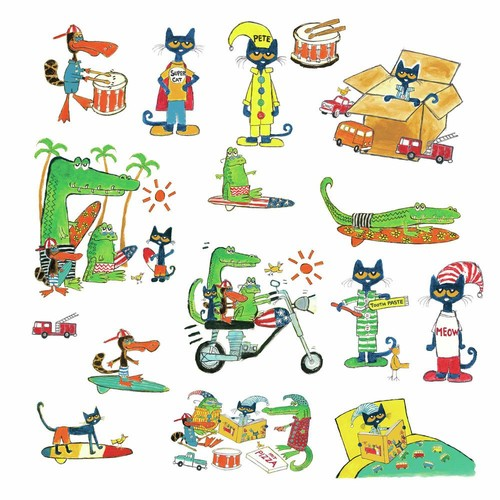 RoomMates 5 in. x 11.5 in. Pete the Cat 16-piece Peel and Stick Wall Decals