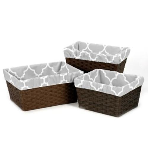 Sweet Jojo Designs Trellis Basket Liners in Grey/White (Set of 3)