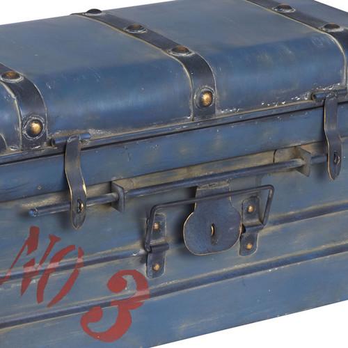 Blue Metal Small Steamer Trunk