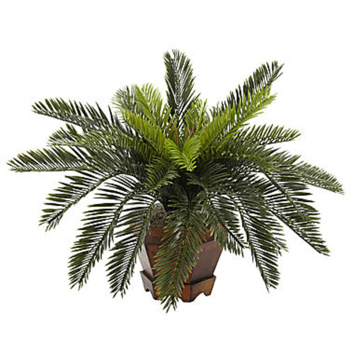 Nearly Natural Cycas Silk Plant with Hexagon Vase