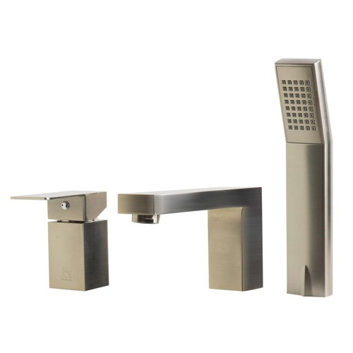 ALFI BRAND Single-Handle Tub Deck Mount Tub Faucet with Sleek Modern Design in Brushed Nickel