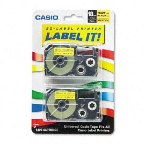 Casio Inc. XR18YW2S Tape Cassette for Label Printer [1-Pack]
