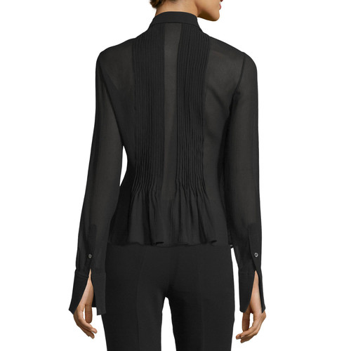 THEORY Dionelle Pintuck Long-Sleeve Top