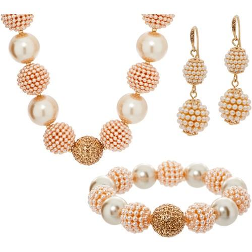 Carolee Park Avenue Simulated Pearl \u0026 Crystal Necklace Set