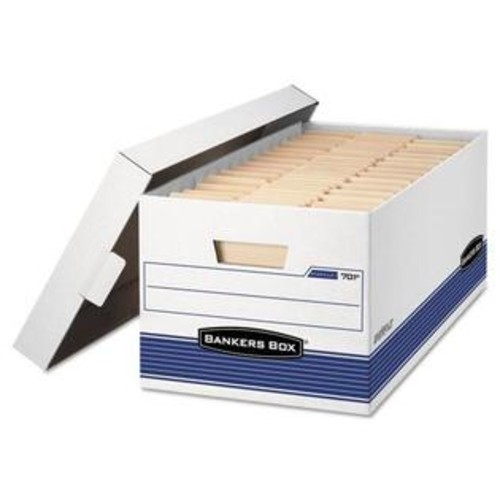 Fellowes 0070104 Stor/File Storage Box, Letter, Locking Lid, White/Blue, 4/Carton