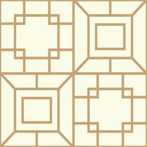 Sample Theorem Geometric Wallpaper in Gold and Ivory by Ashford House for York Wallcoverings