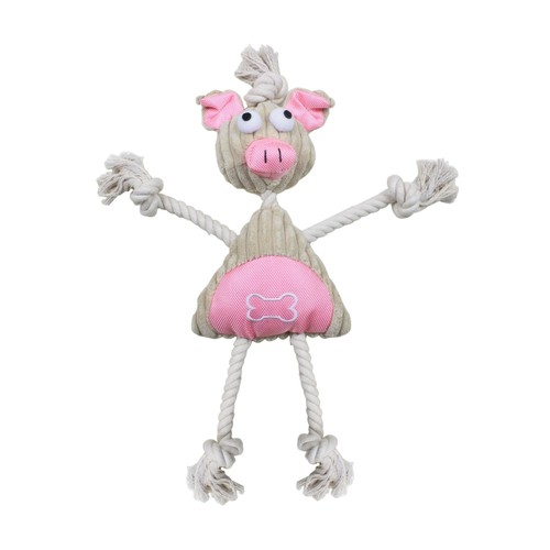 Jute And Rope Plush Pig Mannequin - Pet Toy