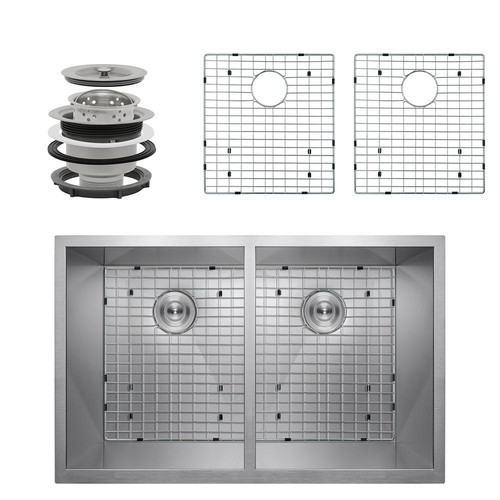 AKDY Handcrafted All-in-One Undermount Stainless Steel 33 in. x 22 in. x 9 in. Double Bowl Kitchen Sink w/ Tray and Drain