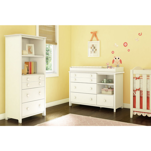 South Shore Changing Table with Shelving Unit with Drawers
