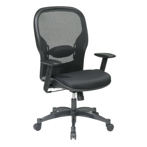 SPACE Seating Breathable Mesh Black Back and Padded Mesh Seat, 2-to-1 Synchro Tilt Control, Adjustable Arms and Lumbar Support with Gunmetal Finish Base Managers Chair [Padded Mesh Seat, No Headrest]