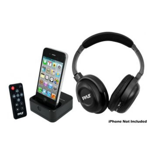 Pyle 97076128M UHF Wireless Stereo Headphone with Wireless iPhone/iPod Dock Transmitter and RF Remote Control