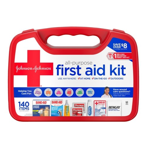Johnson & Johnson All Purpose First Aid Kit, 140-Pieces