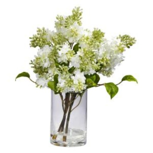 Nearly Natural 15 in. H White Lilac Silk Flower Arrangement