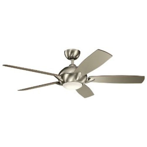 Geno Ceiling Fan [Fan Body and Blade Finish : Brushed Stainless Steel with Walnut/Silver blades]