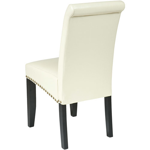 Office Star Metro Bonded Leather Parson's Accent Dining Chair with Nail Heads, 20-inch, Cream [cream]