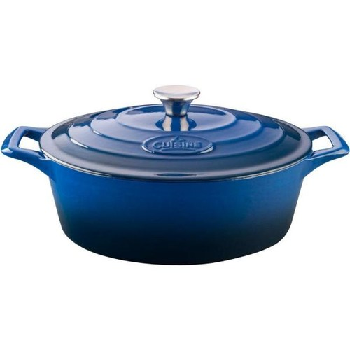 La Cuisine Pro 6.75 Qt. Cast Iron Oval Casserole with Blue Enamel