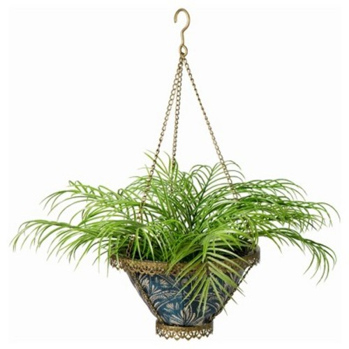 Avignon Hanging Fabric Planter With Royal Zanzibar Liner - Gold - Bombay Outdoors