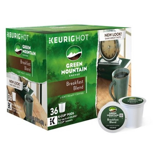 Keurig Green Mountain Coffee Breakfast Blend Light Roast Coffee K-Cup pods 36ct