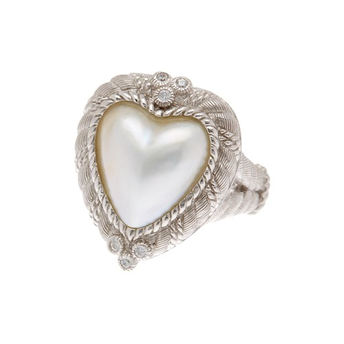Sterling Silver Heart Mabe Pearl Ring