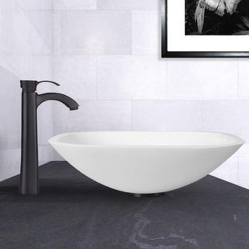 VIGO Marie Phoenix Stone Vessel Bathroom Sink Set With Duris Vessel Faucet In Matte Black
